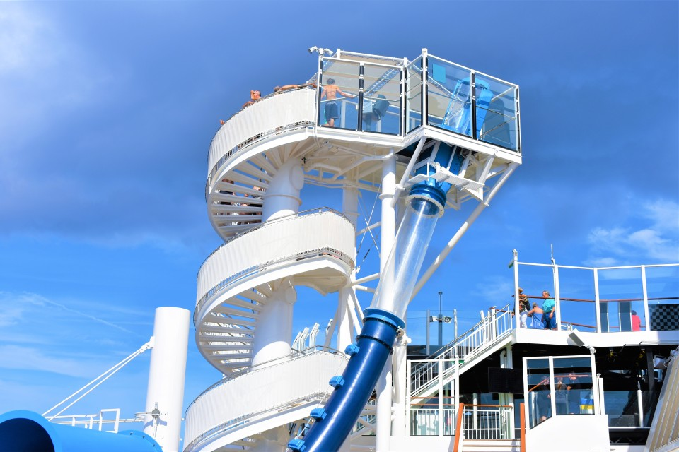 Take a plunge on the Aqua Racer on deck 16. The slide launches you through loops down multiple levels.